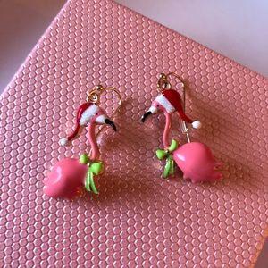 Betsey Johnson Christmas Flamingo Earrings Dangle